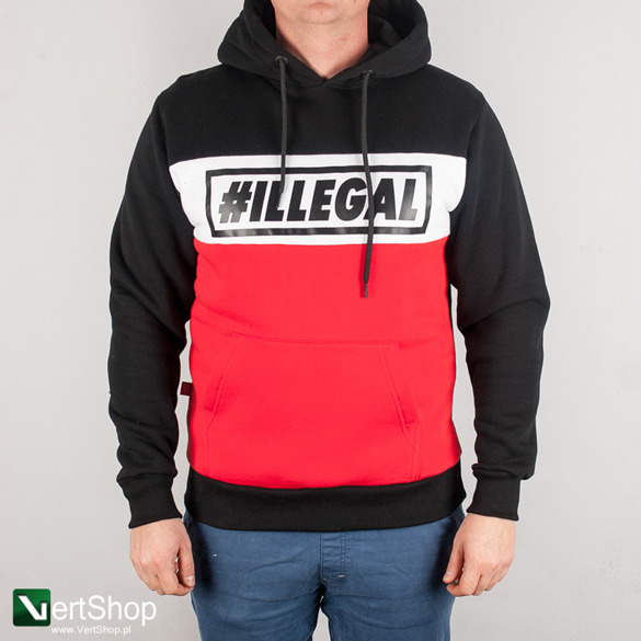 ILLEGAL • Bluza z kapturem Red (czarna)