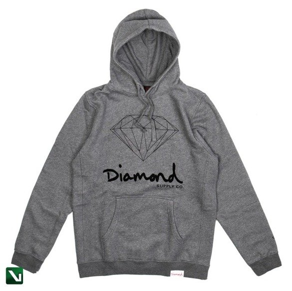 bluza diamond og sign hoodie gunmetal heather