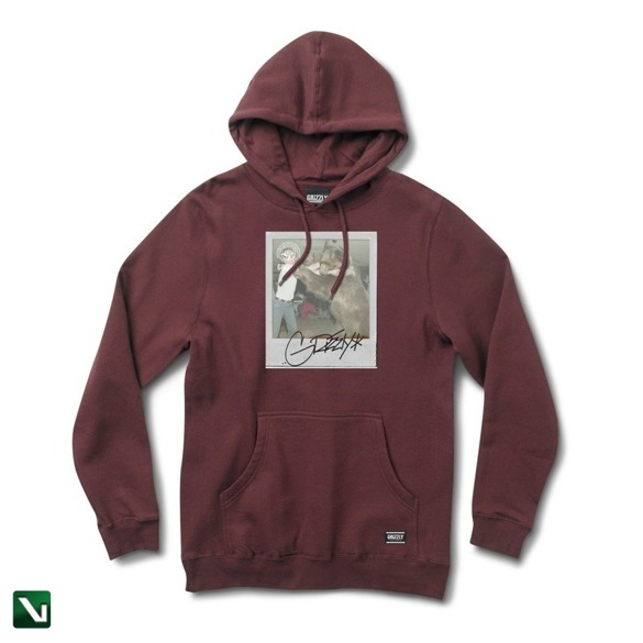bluza grizzly bear fist hoodie burgundy