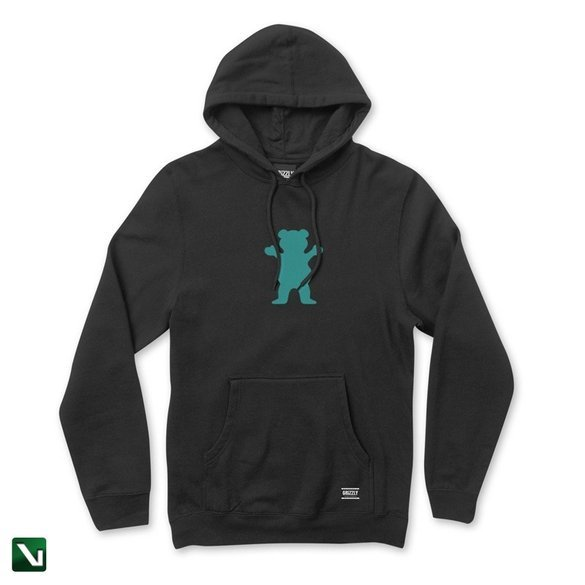 bluza grizzly og bear pullover hoodie black/mint
