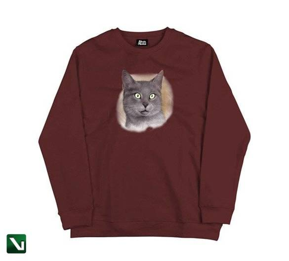 bluza skate mental cat crewneck burgundy