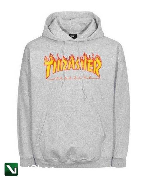 bluza thrasher hood flame grey
