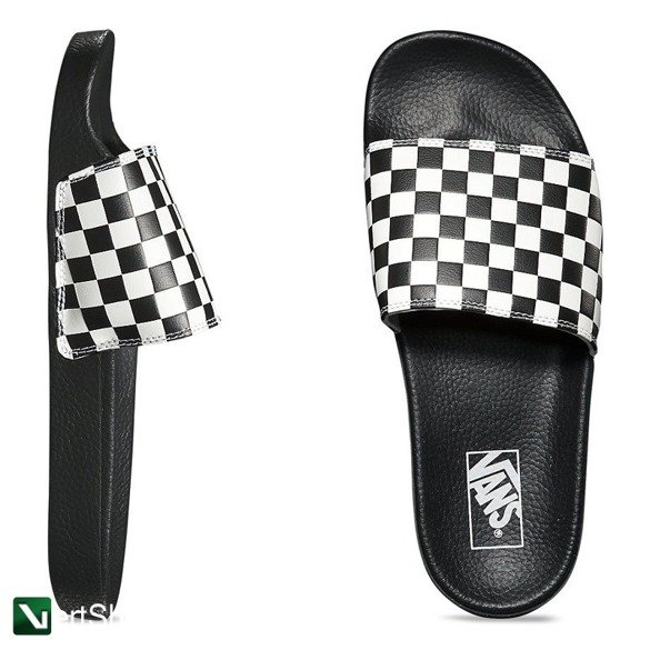 klapki slide-on  (checkerboard) white