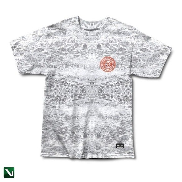 koszulka grizzly surf n turf s/s tee washed grey tie - dye