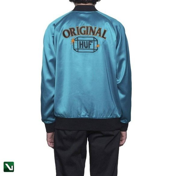 kurtka cabbie satin jacket - aqua