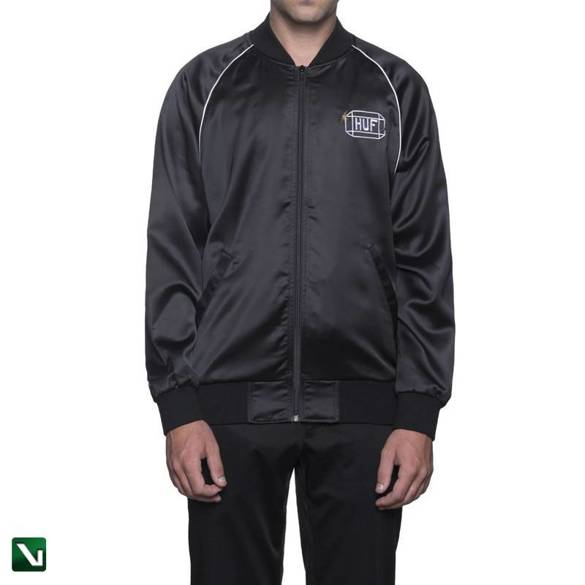 kurtka cabbie satin jacket - black