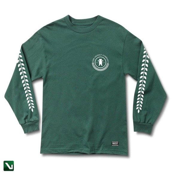 longsleeve grizzly higher standard l/s tee forest green