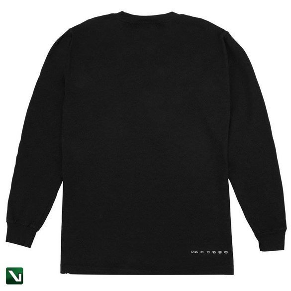 longsleeve numbers l/s miltered logotype t shirt - black