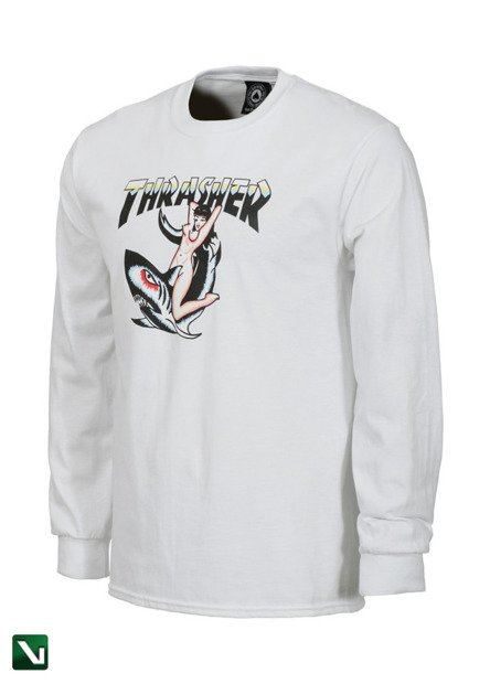 longsleeve thrasher tattoo white